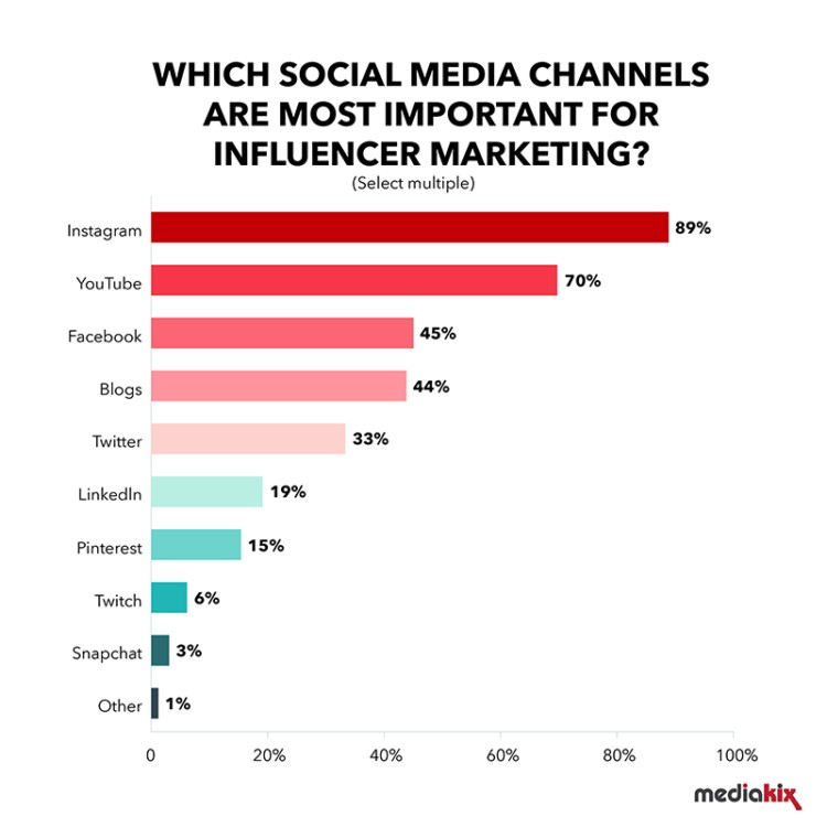 Whiach social media channels are most important forr influencer marketing